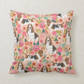 Basset hound florals dog pillow - cute dog design