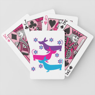 Basset Hound funkky retro floral colorful fun Bicycle Playing Cards