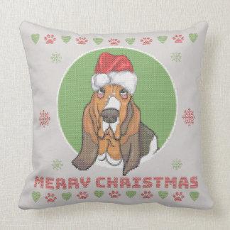 Basset Hound Merry Christmas Knit Pattern Throw Pillow