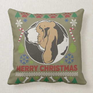 Basset Hound Merry Christmas Ugly Sweater Throw Pillow