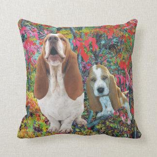 Basset Hound Mom & Puppy Fall Woods Throw Pillow