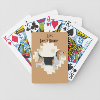 Basset Hound on Tan Leaves Bicycle Playing Cards