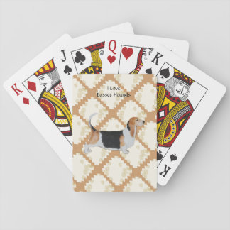 Basset Hound on Tan Leaves Playing Cards