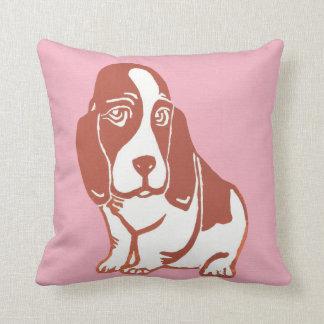 Basset Hound Pink Pillow