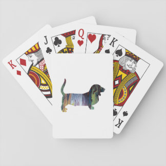Basset hound playing cards