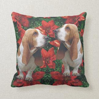 Basset Hound Poinsettias Christmas Cushion