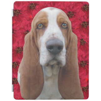 Basset Hound & Poinsettias iPad Cover