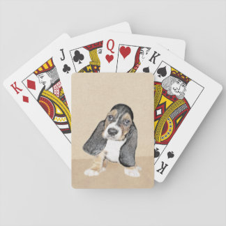 Basset Hound Puppy Painting - Original Dog Art Playing Cards