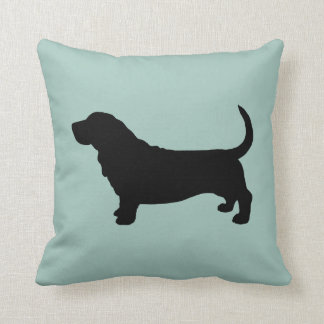 Basset Hound Silhouette Throw Pillow