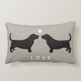 Basset Hound Silhouettes Love Lumbar Pillow