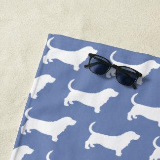 Basset Hound Silhouettes Pattern Beach Towel