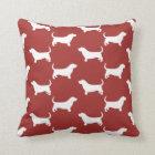 Basset Hound Silhouettes Pattern Cushion