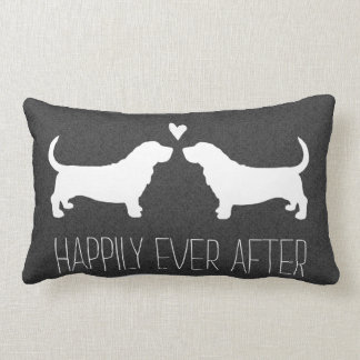 Basset Hound Silhouettes with Heart and Text Lumbar Pillow