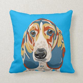 Basset Hound Throw Pillow Blue Background