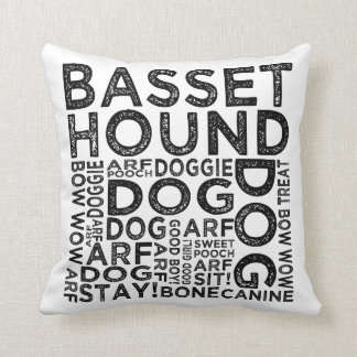 Basset Hound Typography Throw Pillow