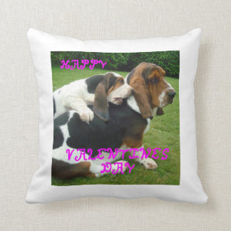 basset-hound valentines.png throw pillow
