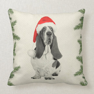 Basset Hound Vintage Style Christmas Throw Pillow