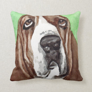 Basset Hound Watercolor Art Throw Pillow