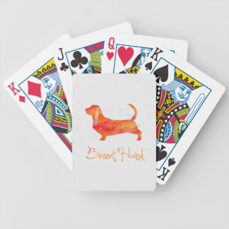 Basset Hound Watercolor Design Bicycle Playing Cards