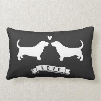 Basset Hounds Love - Dog Silhouettes w/ Heart Lumbar Pillow