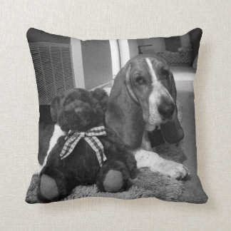 "Basset Polyester Throw Pillow 16"" x 16"