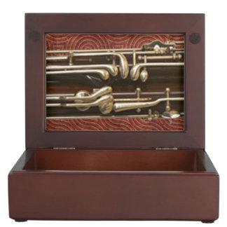Bassoon Keys on Dark Red Keepsake Box