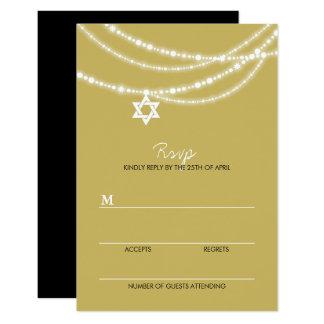 Bat / Bar Mitzvah Sparkles Star Of David RSVP Card