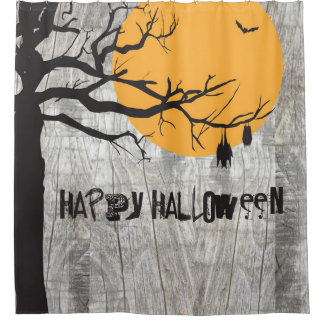 Bat Full Moon Tree Halloween Shower Curtain