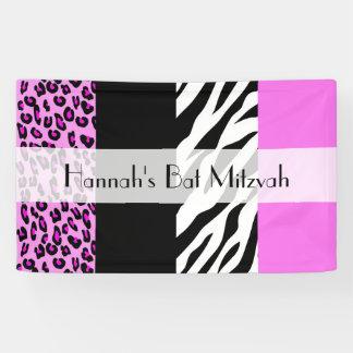 Bat Mitzvah - Animal Print, Zebra, Leopard - Pink Banner