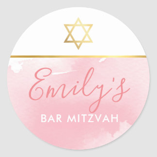 BAT MITZVAH gold star chic blush pink watercolor Classic Round Sticker