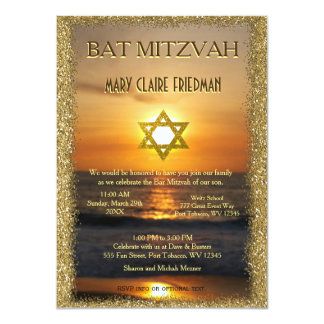 Bat Mitzvah | Golden Sun and Sand 11 Cm X 16 Cm Invitation Card