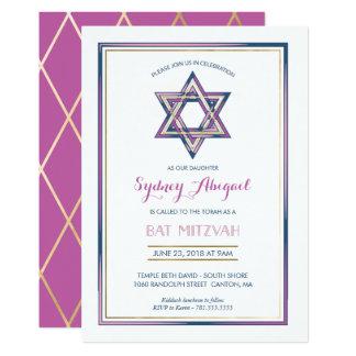 Bat Mitzvah Invitation - Star of David w/ Gold