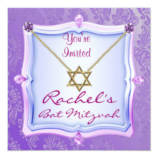 Bat Mitzvah Invitations Star of David GEM FAUX