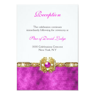 Bat mitzvah pink gold RECEPTION 13 Cm X 18 Cm Invitation Card