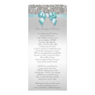 Bat Mitzvah Program Silver Sequin Teal Bow Personalised Rack Card