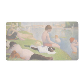 Bathers at Asnieres by Georges Seurat Shipping Label