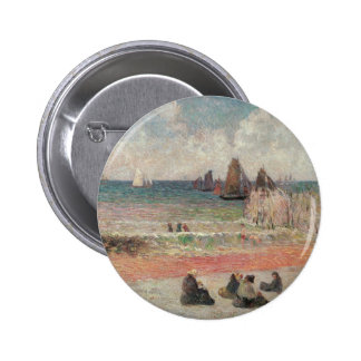 Bathing Dieppe by Paul Gauguin, Vintage Fine Art 6 Cm Round Badge