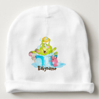 Bathing Frog & Mouse Friend Personalized Baby Beanie
