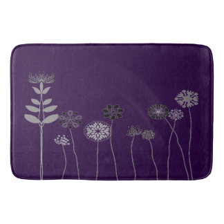 Bathroom mat Abstract flower garden purple Bath Mats