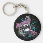Batman Gotham Skyline Sketch Basic Round Button Key Ring