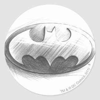Batman Symbol | Insignia Drawing Logo Round Sticker