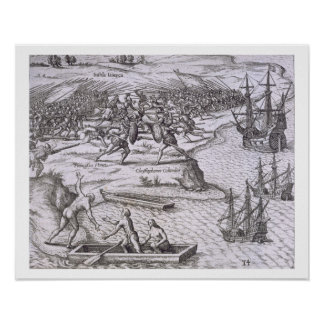 Battle in Jamaica between Christopher Columbus (14 Poster