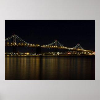 Bay Bridge in San Francisco at Night Wall Art Poster