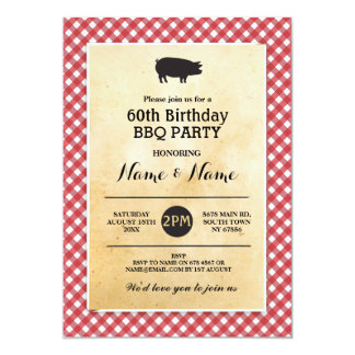 BBQ Birthday Any Age Rustic Red Wood Invite
