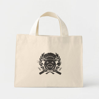 BBQ Crest - black print Mini Tote Bag