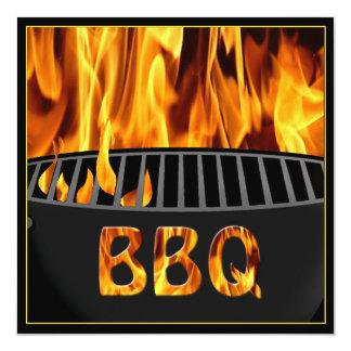 """BBQ Grill Flaming Hot Invitation 5.25"""" Square Invitation Card"""