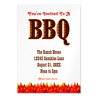 BBQ Party Red Flames Custom Invitation Magnet Magnetic Invitations