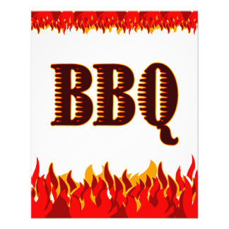 """BBQ Red Flames Custom Flyer Template 4.5"""" X 5.6"""" Flyer"""
