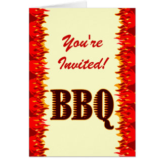 BBQ Red Flames Custom Folded Invitation