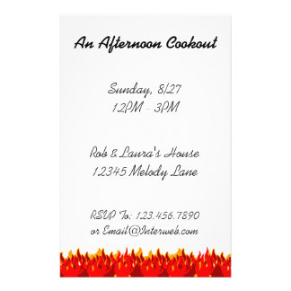 """BBQ Red Flames Custom Party Flyer Template 5.5"""" X 8.5"""" Flyer"""